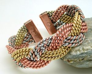 M49: Magnetic Three Colour Celtic Plait Bracelet